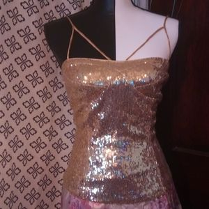 Forever 21 sequin top size small gold